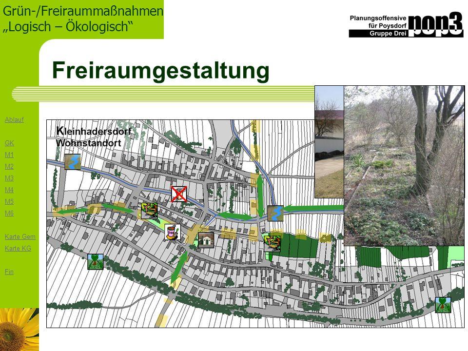 Ablauf GK M1 M2 M3 M4 M5 M6 Karte Gem Karte KG Fin Grün-/Freiraummaßnahmen Logisch – Ökologisch Freiraumgestaltung