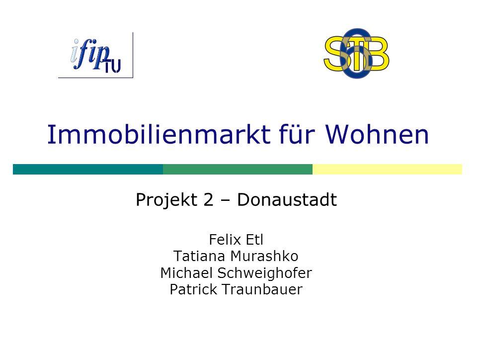 Immobilienmarkt für Wohnen Projekt 2 – Donaustadt Felix Etl Tatiana Murashko Michael Schweighofer Patrick Traunbauer