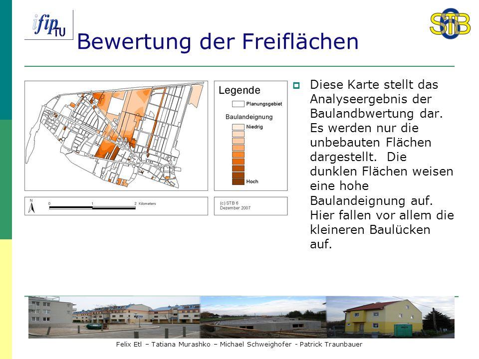 Felix Etl – Tatiana Murashko – Michael Schweighofer - Patrick Traunbauer Bewertung der Freiflächen Diese Karte stellt das Analyseergebnis der Baulandbwertung dar.