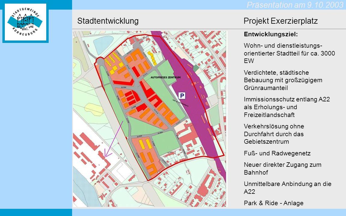 Präsentation am 9.10.2003 Stadtentwicklung Projekt Exerzierplatz Entwicklungsziel: Wohn- und dienstleistungs- orientierter Stadtteil für ca.