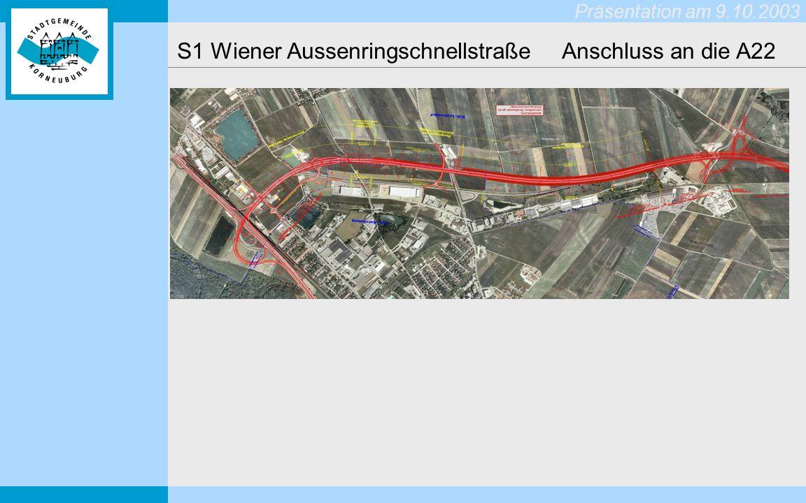 Präsentation am 9.10.2003 S1 Wiener Aussenringschnellstraße Anschluss an die A22