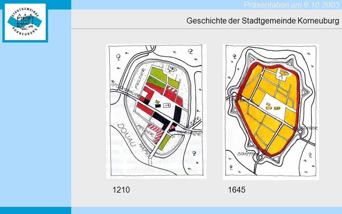 Präsentation am 9.10.2003 Geschichte der Stadtgemeinde Korneuburg 1210 1645