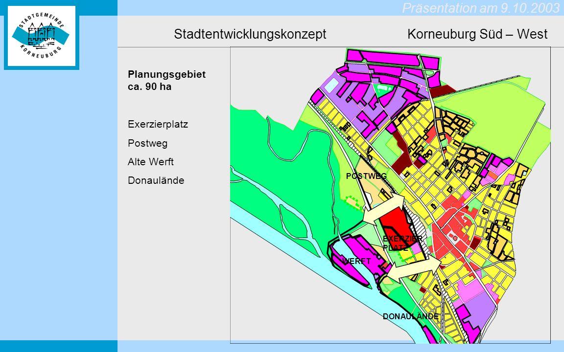 Präsentation am 9.10.2003 Stadtentwicklungskonzept Korneuburg Süd – West Planungsgebiet ca.