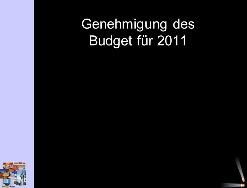 Genehmigung des Budget für 2011