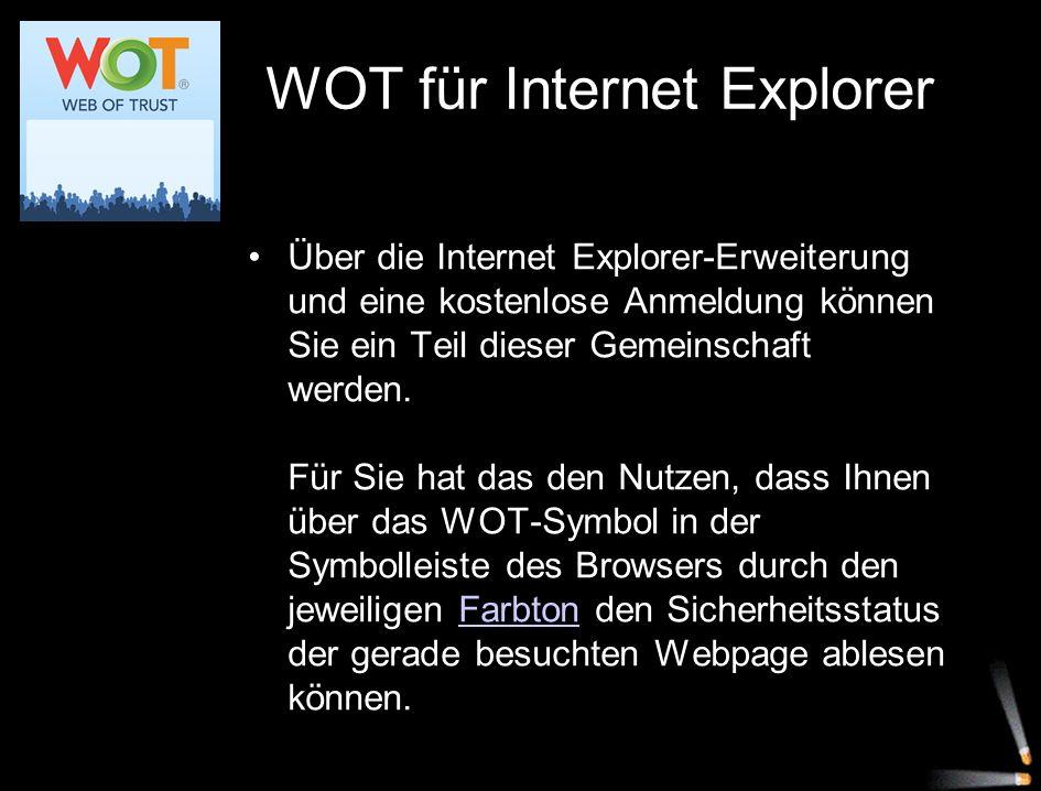 Über die Internet Explorer-Erweiterung und eine kostenlose Anmeldung können Sie ein Teil dieser Gemeinschaft werden. Für Sie hat das den Nutzen, dass