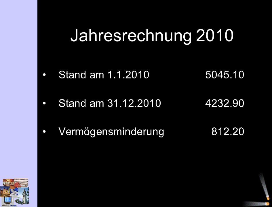 Jahresrechnung 2010 Stand am 1.1.2010 5045.10 Stand am 31.12.20104232.90 Vermögensminderung812.20