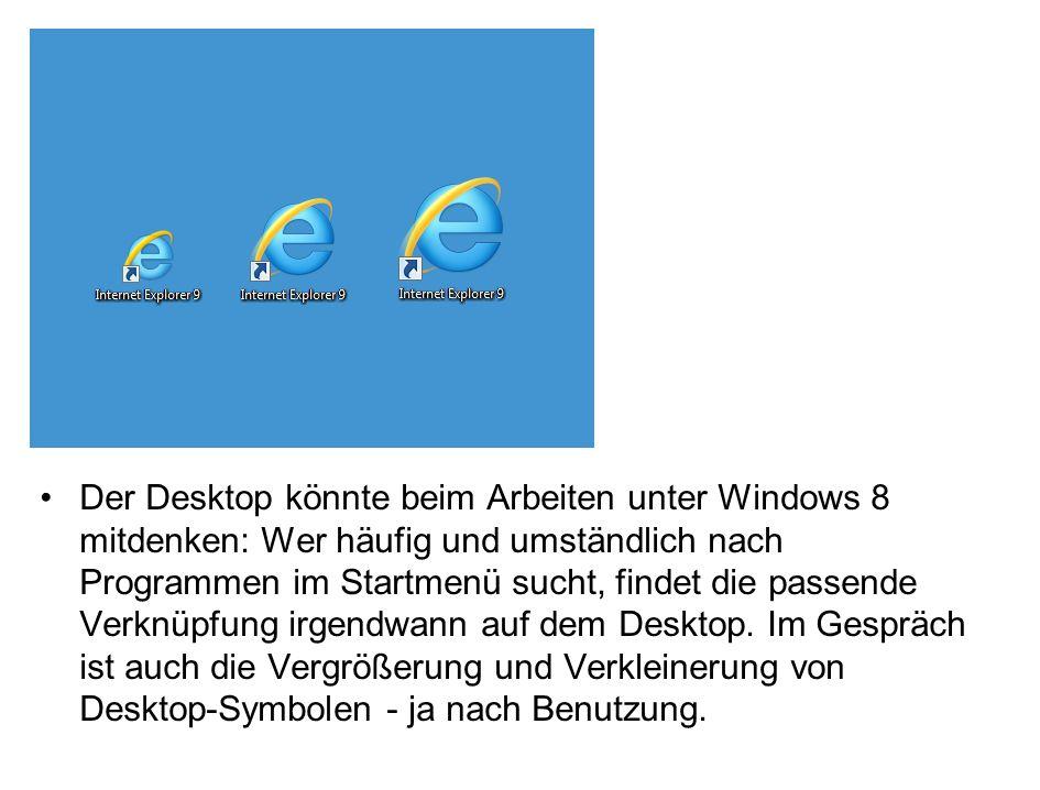 Der Desktop könnte beim Arbeiten unter Windows 8 mitdenken: Wer häufig und umständlich nach Programmen im Startmenü sucht, findet die passende Verknüpfung irgendwann auf dem Desktop.