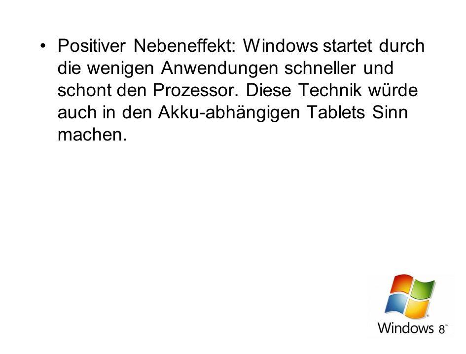 Positiver Nebeneffekt: Windows startet durch die wenigen Anwendungen schneller und schont den Prozessor. Diese Technik würde auch in den Akku-abhängig