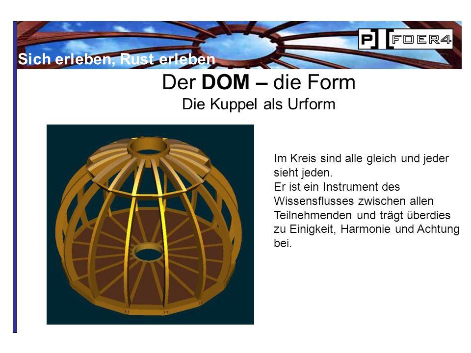 Der DOM – die Form Die Kuppel als Urform Im Kreis sind alle gleich und jeder sieht jeden.