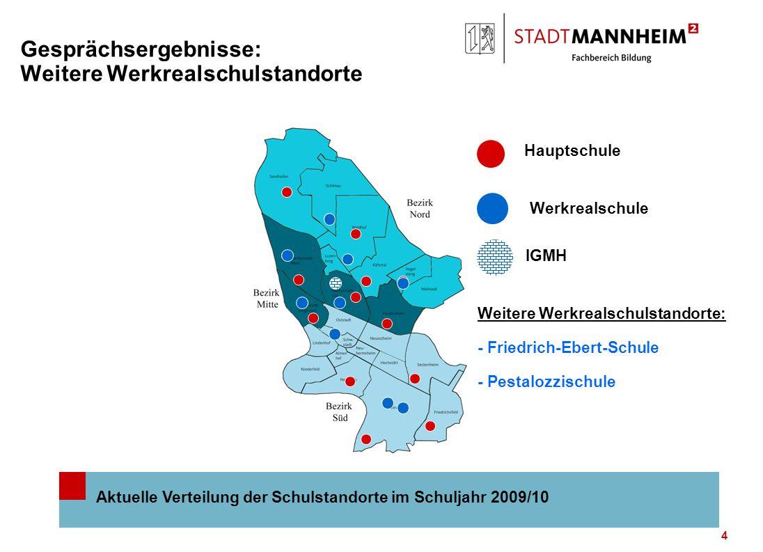 5 Abwägungskriterien für drei weitere Werkrealschulstandorte Nr.Hauptschulstandort Schülerzah lErreichbarkeit Alt.