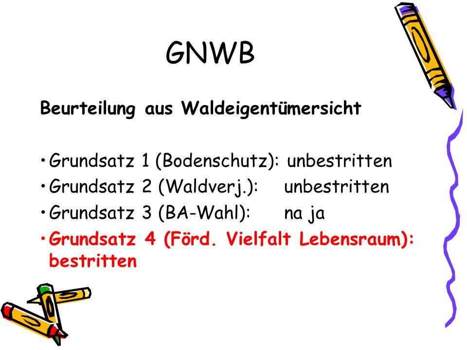 GNWB Beurteilung aus Waldeigentümersicht Grundsatz 1 (Bodenschutz): unbestritten Grundsatz 2 (Waldverj.): unbestritten Grundsatz 3 (BA-Wahl): na ja Grundsatz 4 (Förd.