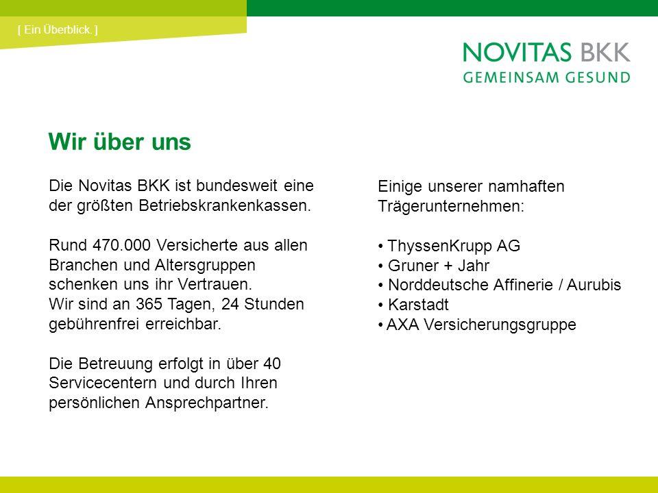 Wir über uns Die Novitas BKK ist bundesweit eine der größten Betriebskrankenkassen. Rund 470.000 Versicherte aus allen Branchen und Altersgruppen sche