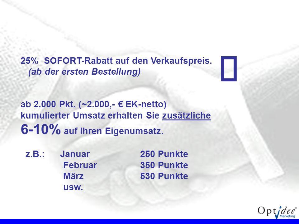 25% SOFORT-Rabatt auf den Verkaufspreis. (ab der ersten Bestellung) ab 2.000 Pkt. (~2.000,- EK-netto) kumulierter Umsatz erhalten Sie zusätzliche 6-10