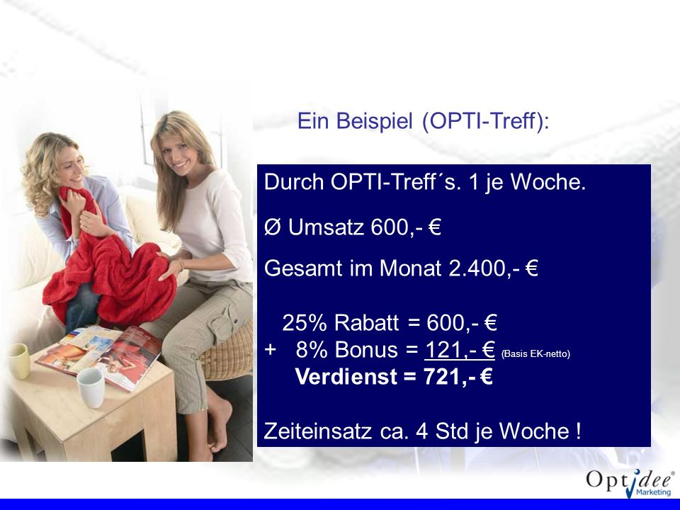 Ein Beispiel (OPTI-Treff): Durch OPTI-Treff´s. 1 je Woche. Ø Umsatz 600,- Gesamt im Monat 2.400,- 25% Rabatt = 600,- + 8% Bonus = 121,- (Basis EK-nett