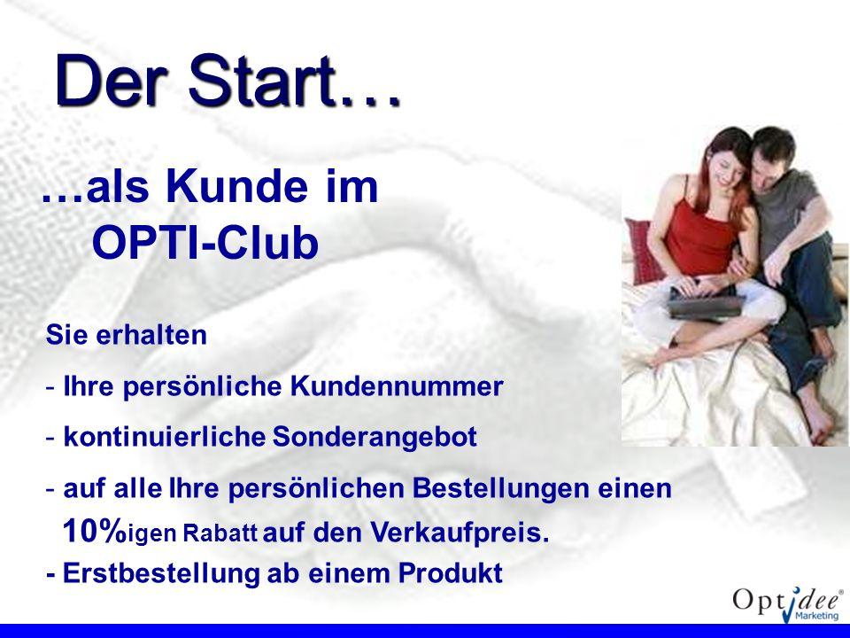 …als Kunde im OPTI-Club Sie erhalten - - Ihre persönliche Kundennummer - - kontinuierliche Sonderangebot - - auf alle Ihre persönlichen Bestellungen e
