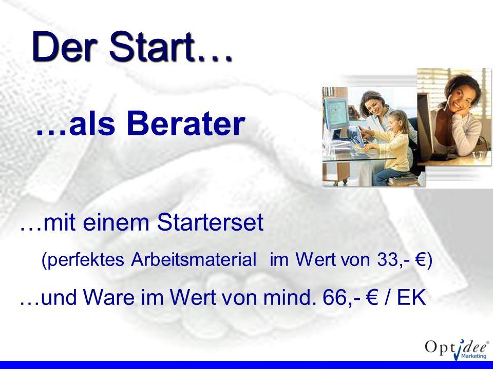 …als Berater …mit einem Starterset (perfektes Arbeitsmaterial im Wert von 33,- ) …und Ware im Wert von mind. 66,- / EK Der Start…