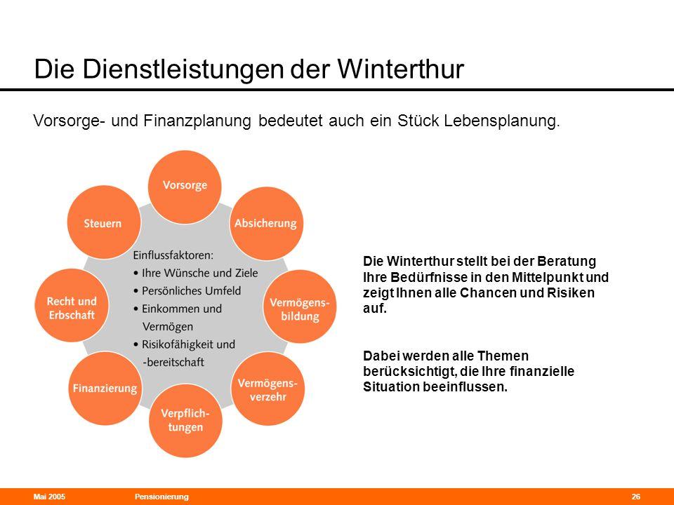 Mai 2005Pensionierung26 Die Dienstleistungen der Winterthur Vorsorge- und Finanzplanung bedeutet auch ein Stück Lebensplanung. Die Winterthur stellt b