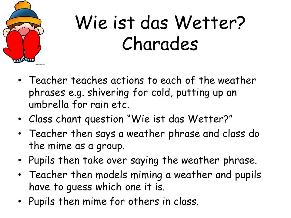 Weather snap! Pupils have different weather symbol cards on their desks/in a group Class ask the question Wie ist das Wetter? Teacher says a weather t
