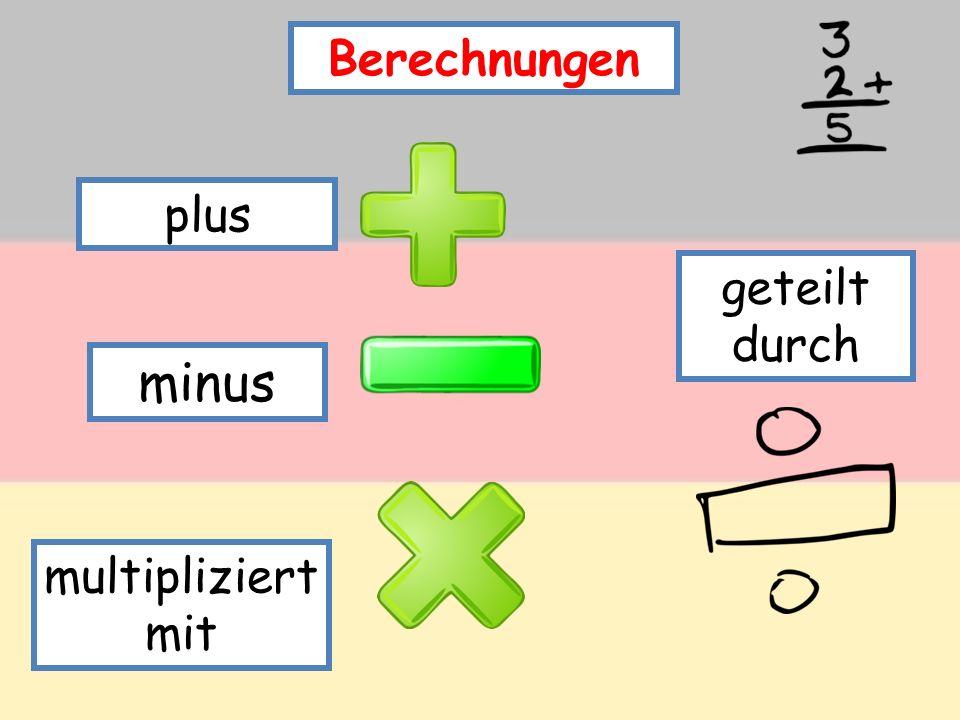 Berechnungen plus minus multipliziert mit geteilt durch