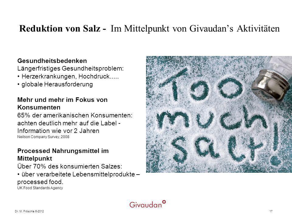 Dr. M. Fröschle 6-201217 Reduktion von Salz - Im Mittelpunkt von Givaudans Aktivitäten Gesundheitsbedenken Längerfristiges Gesundheitsproblem: Herzerk