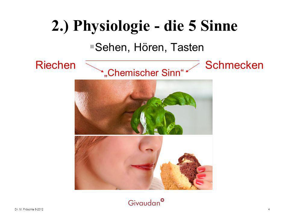 Dr. M. Fröschle 6-20124 2.) Physiologie - die 5 Sinne Sehen, Hören, Tasten Riechen Schmecken Chemischer Sinn