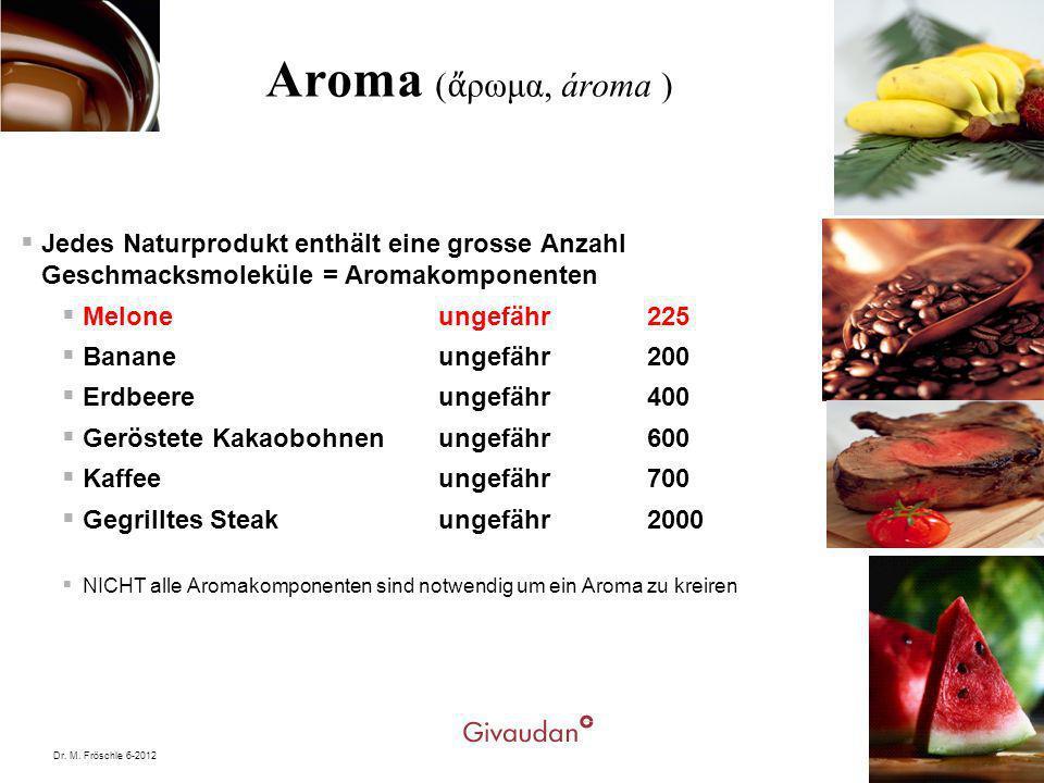 Dr. M. Fröschle 6-20129 Aroma ( ρωμα, ároma ) Jedes Naturprodukt enthält eine grosse Anzahl Geschmacksmoleküle = Aromakomponenten Melone ungefähr 225