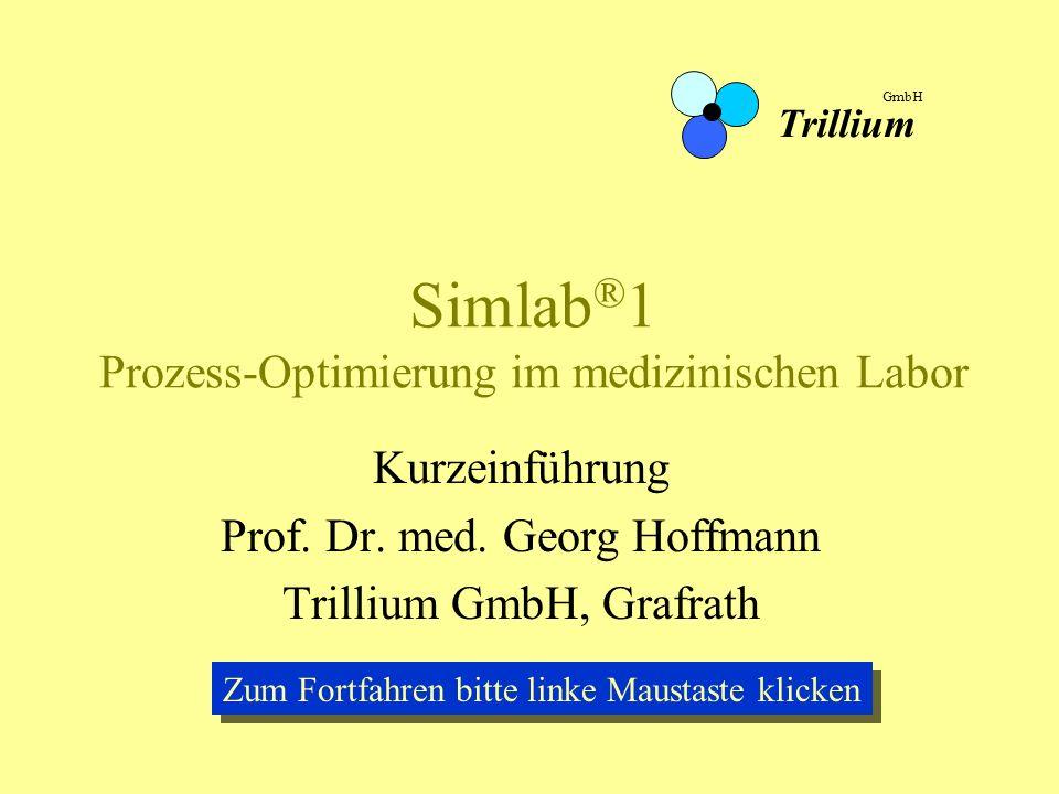 Simlab ® 1 Prozess-Optimierung im medizinischen Labor Kurzeinführung Prof. Dr. med. Georg Hoffmann Trillium GmbH, Grafrath Trillium GmbH Zum Fortfahre