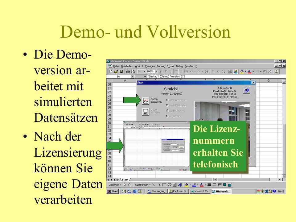 Demo- und Vollversion Die Demo- version ar- beitet mit simulierten Datensätzen Nach der Lizensierung können Sie eigene Daten verarbeiten Die Lizenz- n