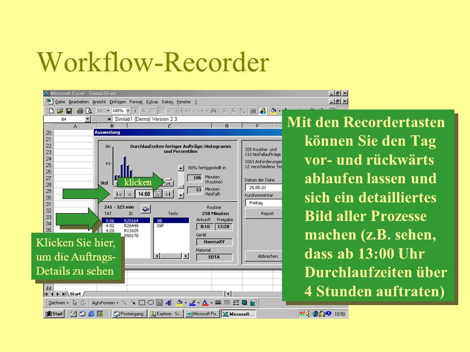 Workflow-Recorder klicken Mit den Recordertasten können Sie den Tag vor- und rückwärts ablaufen lassen und sich ein detailliertes Bild aller Prozesse