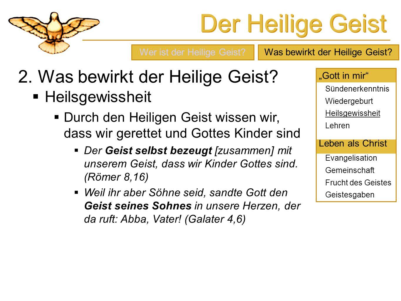 Der Heilige Geist 2. Was bewirkt der Heilige Geist? Heilsgewissheit Durch den Heiligen Geist wissen wir, dass wir gerettet und Gottes Kinder sind Der