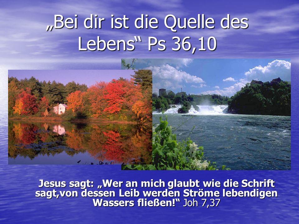 Bei dir ist die Quelle des Lebens Ps 36,10 Jesus sagt: Wer an mich glaubt wie die Schrift sagt,von dessen Leib werden Ströme lebendigen Wassers fließen.