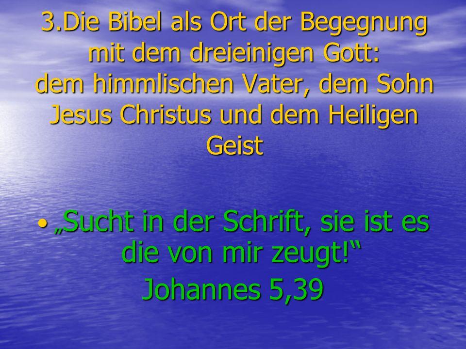 3.Die Bibel als Ort der Begegnung mit dem dreieinigen Gott: dem himmlischen Vater, dem Sohn Jesus Christus und dem Heiligen Geist Sucht in der Schrift, sie ist es die von mir zeugt.