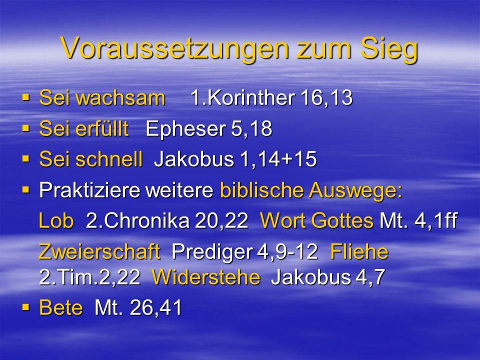 Voraussetzungen zum Sieg Sei wachsam 1.Korinther 16,13 Sei wachsam 1.Korinther 16,13 Sei erfüllt Epheser 5,18 Sei erfüllt Epheser 5,18 Sei schnell Jak