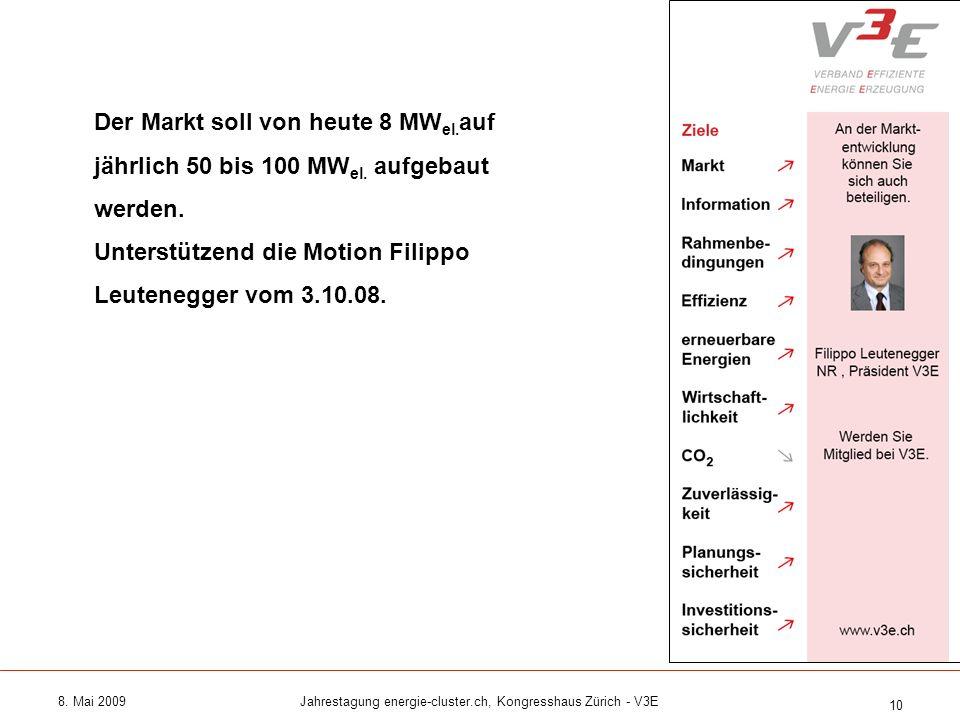 8. Mai 2009Jahrestagung energie-cluster.ch, Kongresshaus Zürich - V3E 10 Der Markt soll von heute 8 MW el. auf jährlich 50 bis 100 MW el. aufgebaut we