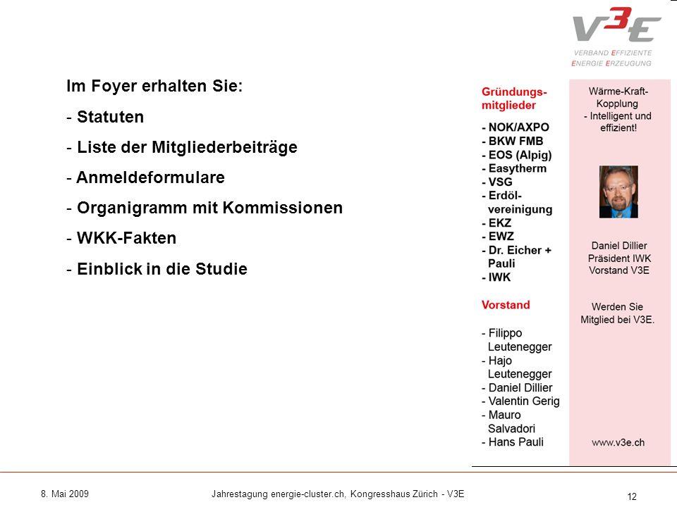 8. Mai 2009Jahrestagung energie-cluster.ch, Kongresshaus Zürich - V3E 12 Im Foyer erhalten Sie: - Statuten - Liste der Mitgliederbeiträge - Anmeldefor