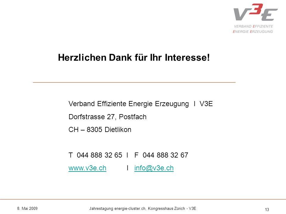 8. Mai 2009Jahrestagung energie-cluster.ch, Kongresshaus Zürich - V3E 13 Herzlichen Dank für Ihr Interesse! Verband Effiziente Energie Erzeugung I V3E