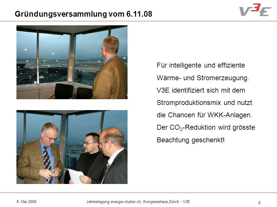 8. Mai 2009Jahrestagung energie-cluster.ch, Kongresshaus Zürich - V3E 6 Gründungsversammlung vom 6.11.08 Für intelligente und effiziente Wärme- und St