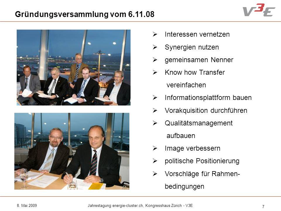 8. Mai 2009Jahrestagung energie-cluster.ch, Kongresshaus Zürich - V3E 7 Gründungsversammlung vom 6.11.08 Interessen vernetzen Synergien nutzen gemeins