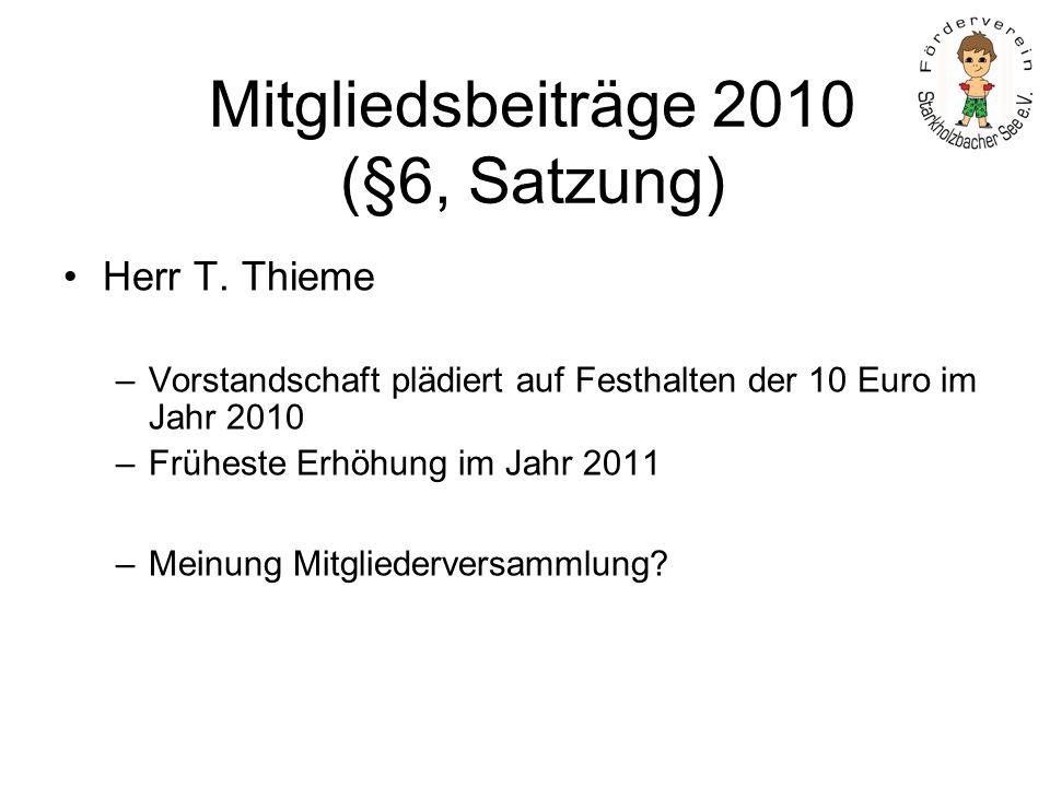 Mitgliedsbeiträge 2010 (§6, Satzung) Herr T. Thieme –Vorstandschaft plädiert auf Festhalten der 10 Euro im Jahr 2010 –Früheste Erhöhung im Jahr 2011 –