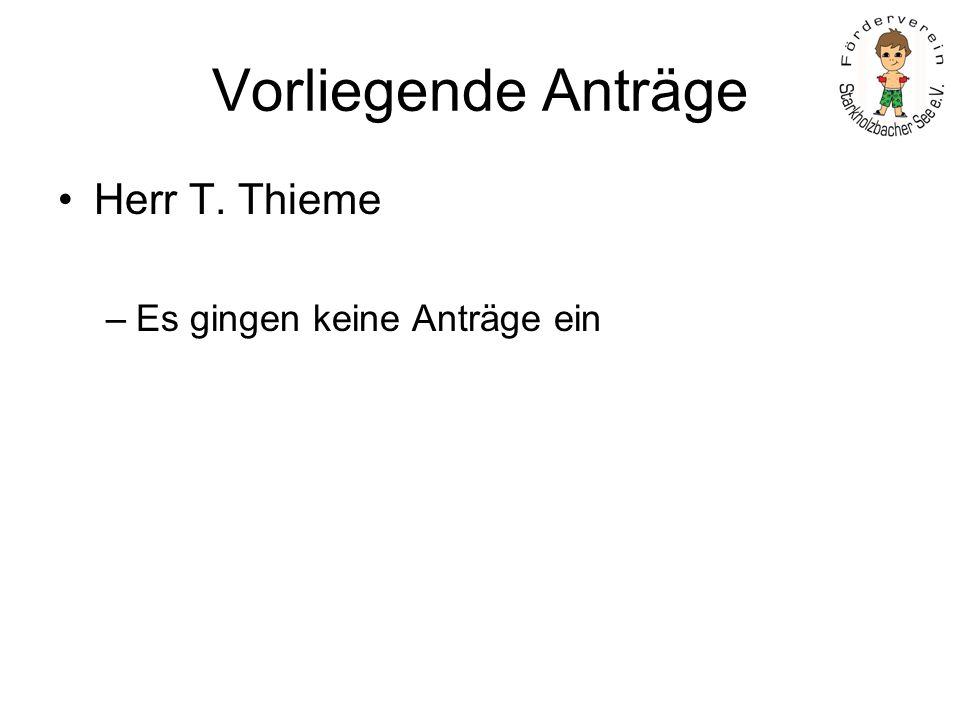 Vorliegende Anträge Herr T. Thieme –Es gingen keine Anträge ein
