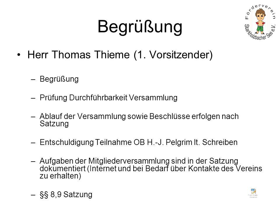 Begrüßung Herr Thomas Thieme (1. Vorsitzender) –Begrüßung –Prüfung Durchführbarkeit Versammlung –Ablauf der Versammlung sowie Beschlüsse erfolgen nach