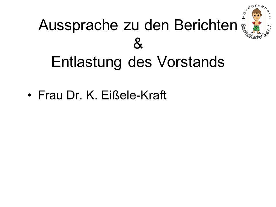 Aussprache zu den Berichten & Entlastung des Vorstands Frau Dr. K. Eißele-Kraft