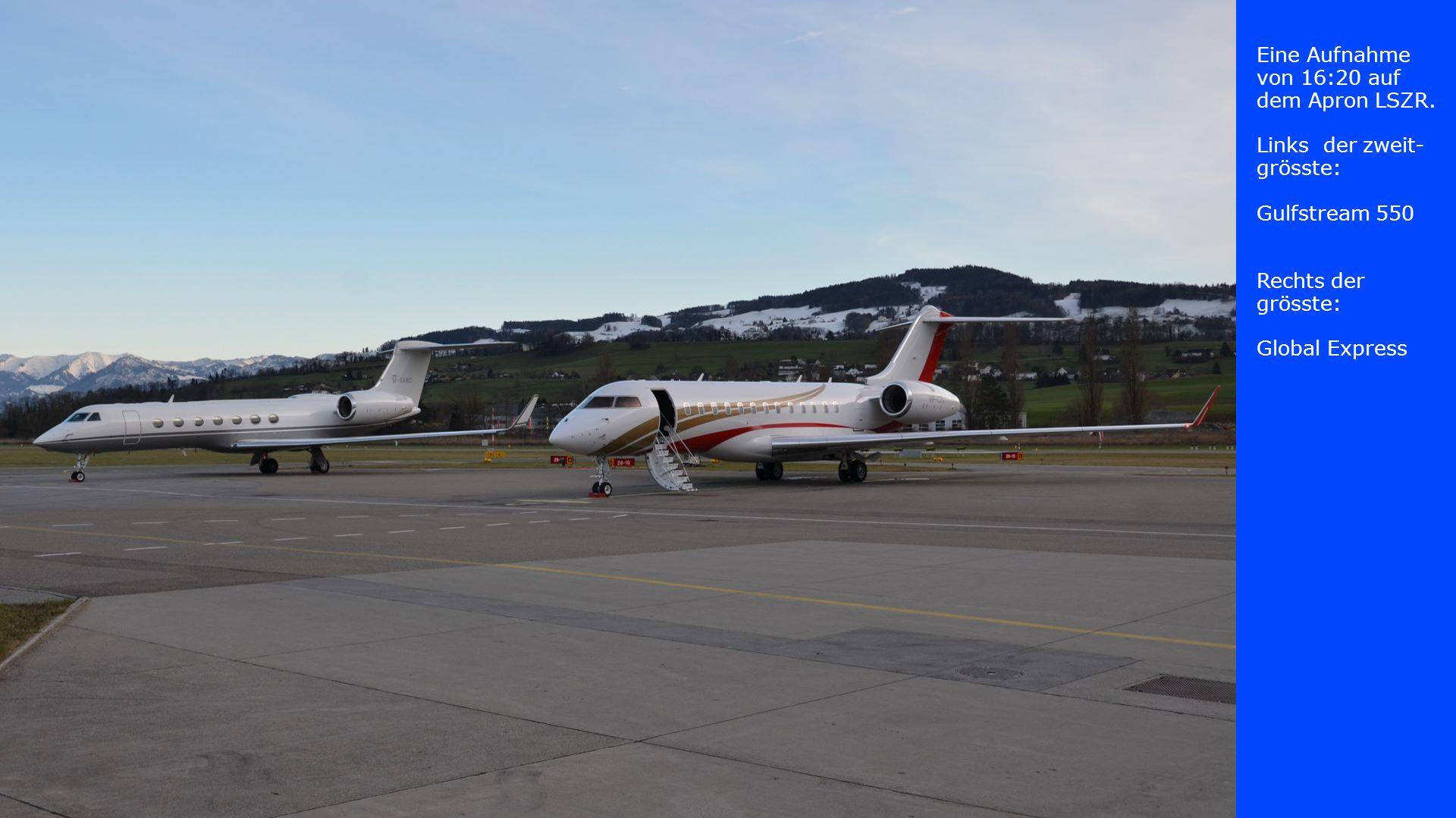 Eine Aufnahme von 16:20 auf dem Apron LSZR. Links der zweit- grösste: Gulfstream 550 Rechts der grösste: Global Express