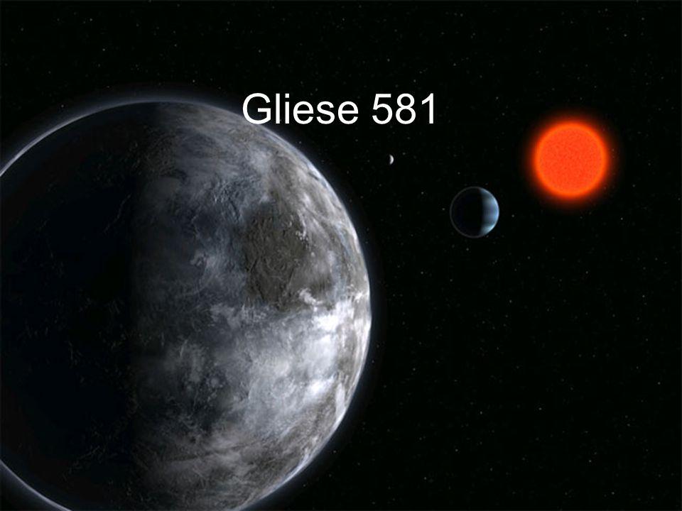 Gliese 581 e Er umkreist sein Zentralgestirn in 3,15 Tagen.