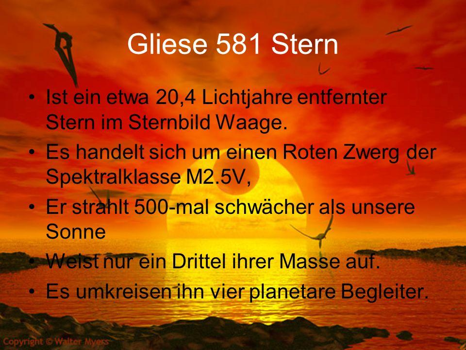 Gliese 581 Stern Ist ein etwa 20,4 Lichtjahre entfernter Stern im Sternbild Waage. Es handelt sich um einen Roten Zwerg der Spektralklasse M2.5V, Er s