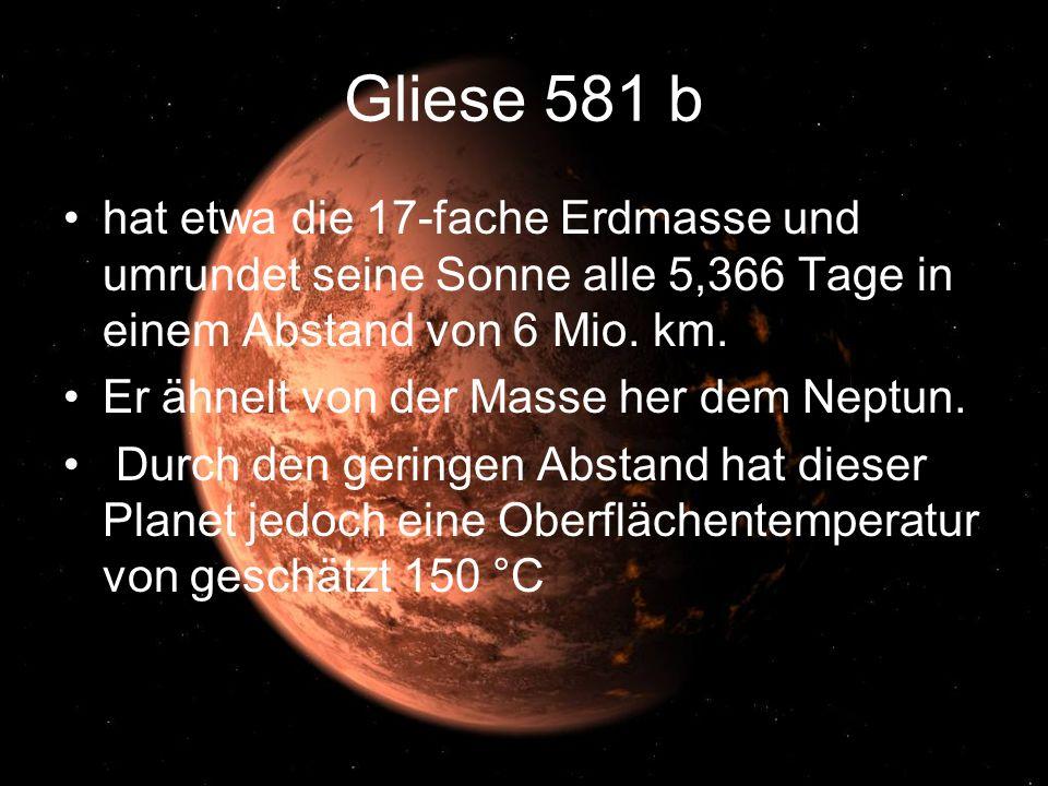 Gliese 581 b hat etwa die 17-fache Erdmasse und umrundet seine Sonne alle 5,366 Tage in einem Abstand von 6 Mio. km. Er ähnelt von der Masse her dem N