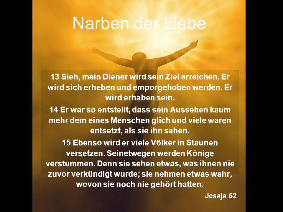 Narben der Liebe 13 Sieh, mein Diener wird sein Ziel erreichen. Er wird sich erheben und emporgehoben werden. Er wird erhaben sein. 14 Er war so entst