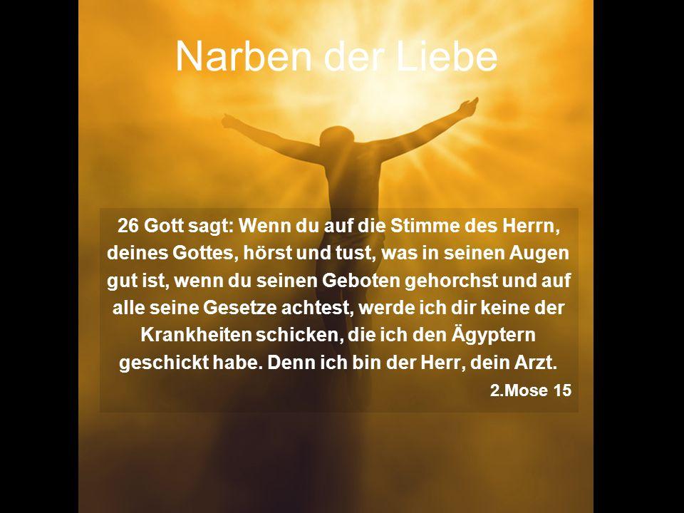 Narben der Liebe 26 Gott sagt: Wenn du auf die Stimme des Herrn, deines Gottes, hörst und tust, was in seinen Augen gut ist, wenn du seinen Geboten ge