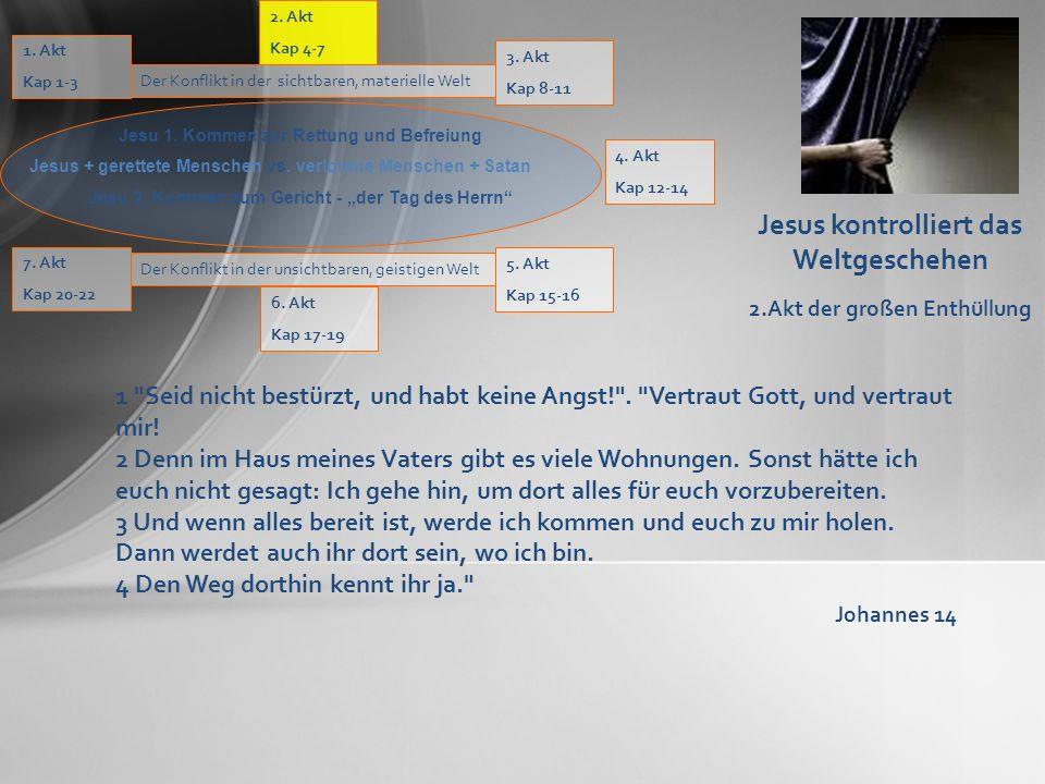Jesus kontrolliert das Weltgeschehen 2.Akt der großen Enthüllung 4. Akt Kap 12-14 Der Konflikt in der sichtbaren, materielle Welt 1. Akt Kap 1-3 Jesu