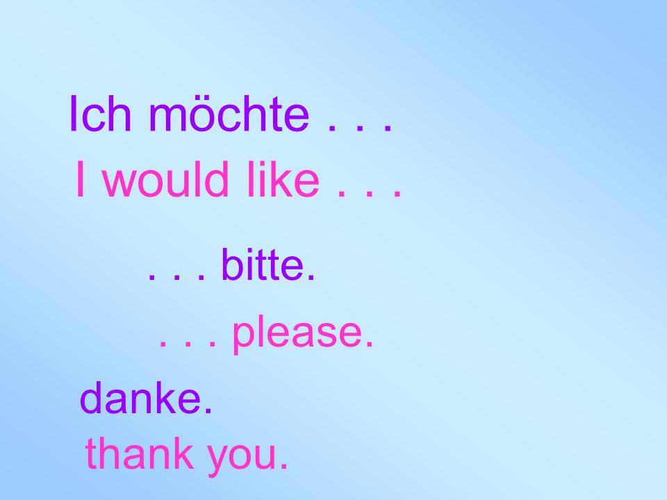 Ich möchte... I would like...... bitte.... please. danke. thank you.